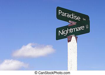 incrocio, viale, incubo, segno, paradiso, segnali stradali