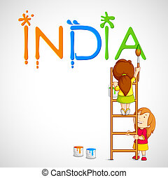 india, bambini, tricolore, pittura