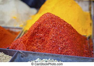 india., spezie, mercato, tradizionale