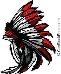 indiano americano, nativo, testa, penna