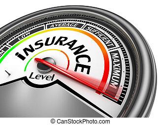indicare, concettuale, assicurazione, massimo, metro, livello