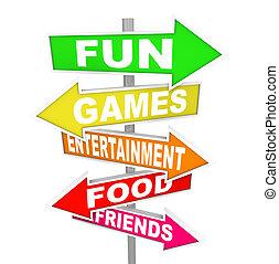 indicare, intrattenimento, attività, divertimento, segni, indicazione