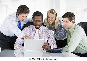 indicare, laptop, businesspeople, quattro, boardroom, smilin