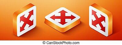 indicazione, fondo., vettore, quattro, isometrico, frecce, icona, quadrato arancione, isolato, button.