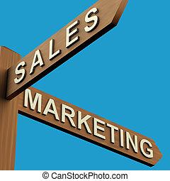 indicazione, marketing, o, vendite, signpost