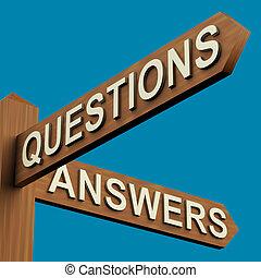indicazione, signpost, domande, risposte, o