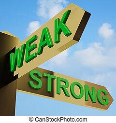 indicazione, signpost, forte, debole, o