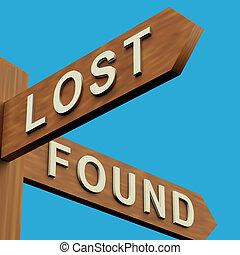 indicazione, signpost, o, perso, fondare