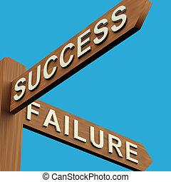 indicazione, signpost, o, successo, fallimento