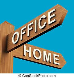 indicazione, signpost, o, ufficio, casa