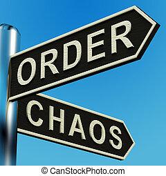 indicazione, signpost, ordine, caos, o