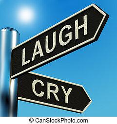 indicazione, signpost, piangere, o, risata