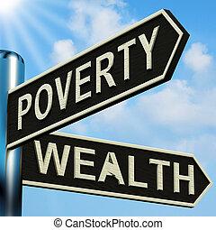 indicazione, signpost, povertà, ricchezza, o