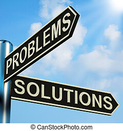 indicazione, signpost, problemi, soluzioni, o