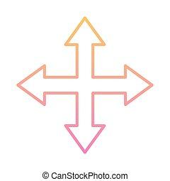 indicazione, stile, pendenza, quattro, frecce, vettore, icona, disegno