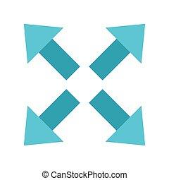 indicazione, stile, quattro, frecce, appartamento, vettore, icona, disegno