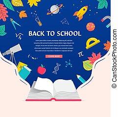 indietro, aperto, disegno, libro, provviste, scuola, icone, books., concetto, illustrazione, vettore, fondo