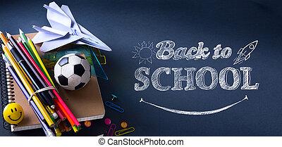 indietro, benvenuto, banner;, provviste, scuola, tumblr, arte