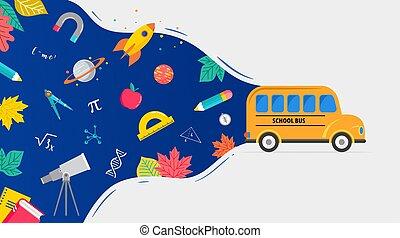 indietro, disegno, provviste, scuola, icone, books., concetto, illustrazione, autobus, vettore, fondo
