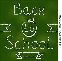 indietro, fondo, scuola, testo