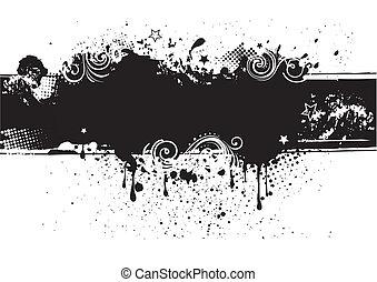 indietro, inchiostro, illustration-grunge, vettore