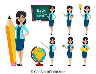 indietro, school., insegnante, cartone animato, donna, carattere
