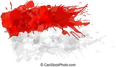 indonesiano, fatto, bandiera, colorito, schizzi