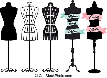 indossatrici, vettore, moda, set