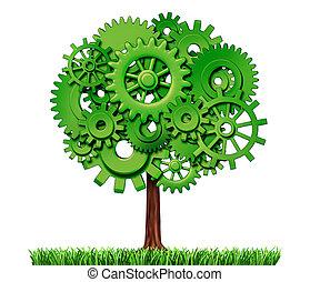 industria, albero, affari, successo