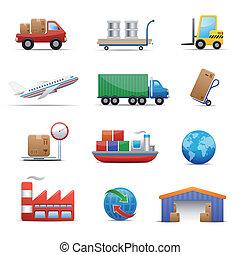 industria, set, logistica, icona, &