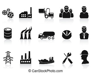 industria, set, nero, icone