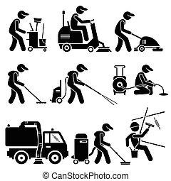 industriale, cliparts, lavoratore, pulizia