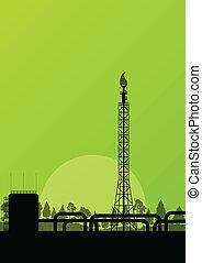 industriale, manifesto, fabbrica, illustrazione, raffineria, vettore, fondo, olio, paesaggio