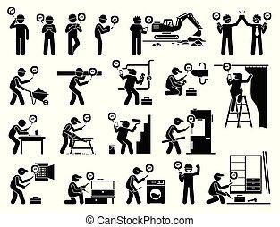 industriale, mobile, app, lavoratore, costruzione, usando, smartphone.