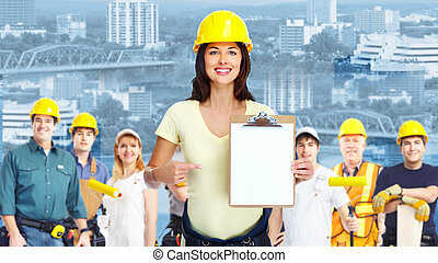 industriale, workers., donna, gruppo, appaltatore