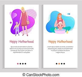 infanzia, preoccupare, maternità, madre, vettore, diapositiva