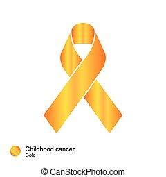 infanzia, vettore, nastro, cancro