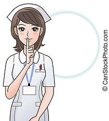 infermiera, chiedere, giovane, silenzio