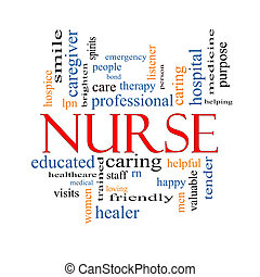 infermiera, concetto, parola, nuvola