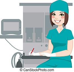 infermiera, documenti, femmina, scrittura