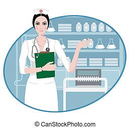 infermiera, giovane, indicare