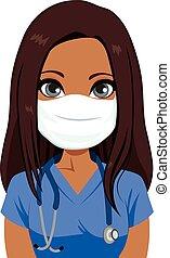 infermiera, maschera, femmina