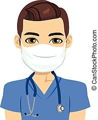 infermiera, maschio, maschera
