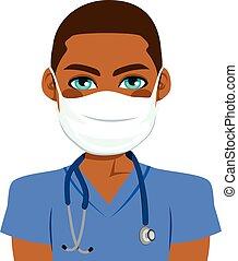 infermiera, maschio, nero
