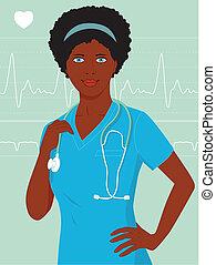 infermiera, nero, o, dottore femmina