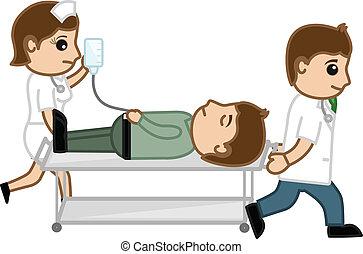 infermiera, portante, paziente, dottore