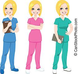 infermiera, proposta, felice