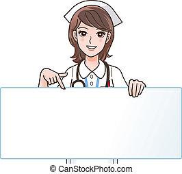 infermiera, sorridente, carino, indicare