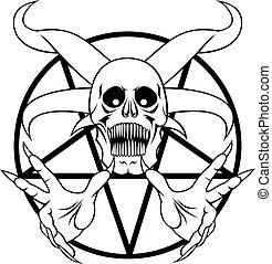 inferno, -, pentagram, segno