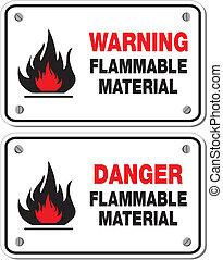infiammabile, materiale, avvertimento